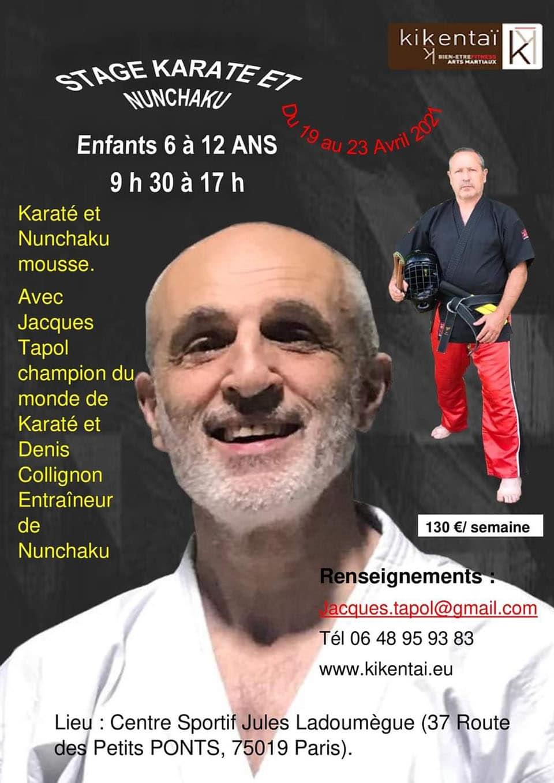 Stage Enfats Karaté et Nunchaku du 19 au 23 avril 2021